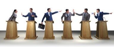 Die Politiker, die an der politischen Debatte teilnehmen stockbilder