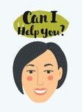 Die Pop-Arten-Frau, die am Telefon, Vektor in den Comics plaudert, die, Art mit Mitteilung ` ich kann, helfen Ihnen? ` Lächelnde  Lizenzfreie Stockfotos