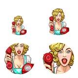 Die Pop-Arten-Frau oder -mädchen, die heraus Telefonempfängervektor hält, lokalisierten die Retro- eingestellten Skizzenikonen Stockfotos