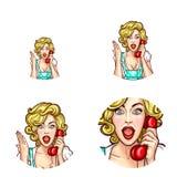 Die Pop-Arten-Frau oder -mädchen, die telefonisch Empfänger mit überraschtem Ausdruckvektor spricht, lokalisierten die Retro- ein lizenzfreie abbildung