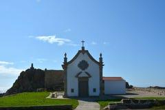 Die portugiesische Weise des Pilgers entlang der Küste in Santiago de Compostela, der erste Tag von Matosinhos - Vila de Conde Lizenzfreies Stockbild