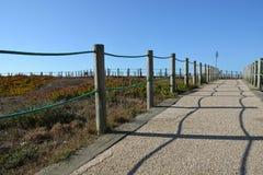 Die portugiesische Weise des Pilgers entlang der Küste in Santiago de Compostela, der erste Tag von Matosinhos - Vila de Conde Lizenzfreie Stockfotos