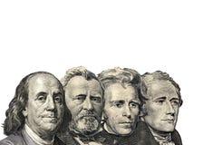 Die Präsidenten auf dem Dollar von US-Amerikaner lokalisiert auf weißem backgr Lizenzfreies Stockfoto