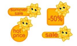 Die Preise mit einer netten Sonne set Lizenzfreie Stockbilder
