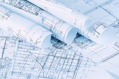 Die Projekte von Häusern ein Hintergrund Lizenzfreie Stockbilder