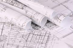 Die Projekte von Häusern ein Hintergrund Stockfoto
