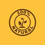 Die 100-Prozent-natürliche Ikone Eco und Bio, Ökologiesymbol flach Stockbild