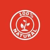 Die 100-Prozent-natürliche Ikone Eco und Bio, Ökologiesymbol flach Lizenzfreie Stockfotografie