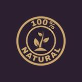 Die 100-Prozent-natürliche Ikone Eco und Bio, Ökologiesymbol flach Lizenzfreies Stockfoto