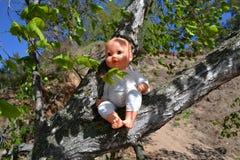 Die Puppe in den Niederlassungen eines Baums Lizenzfreie Stockbilder