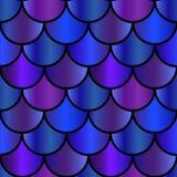 Die purpurrote Meerjungfrau und das Blau stuft nahtloses Muster ein Lizenzfreie Stockbilder