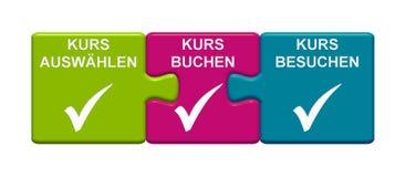 3, die Puzzlespiel Vertretung knöpft, wählen Kurs, Buch-Kurs, Besuchs-Fluchdeutscher stock abbildung