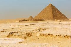 Die Pyramiden in Giza Stockfoto