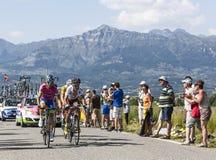 Die Radfahrer Manuele Mori und Blel Kadri Stockbilder
