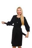 Die recht blonde Frau im schwarzen Mantel lokalisiert auf Weiß Stockfotografie