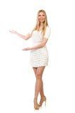 Die recht junge blonde Frau lokalisiert auf Weiß Stockbilder