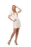 Die recht junge blonde Frau lokalisiert auf Weiß Stockfoto