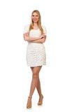 Die recht junge blonde Frau lokalisiert auf Weiß Stockfotos