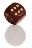 The die with reflection. Die is cast with reflection on white isolated background royalty free stock photography