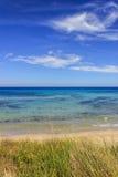 Die regionale Naturpark-Düne Costiere, Apulien ITALIEN Seehorizont: Seehorizont: Ansicht von der Düne des sandigen Strandes Stockfotos