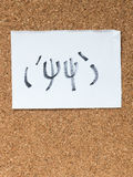 Die Reihe von japanischen Emoticons nannte Kaomoji und kicherte Stockbild