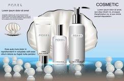 Die Reihe von kosmetischen Produkten für Hautpflege, auf dem Hintergrund des Perlmuttoberteils Schablone für die Werbung, Plakatd lizenzfreie abbildung