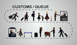 Die Reihe von Leuten an der Passkontrolle Stockfotografie