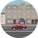Die Reise mit dem Auto In der Stadt Gepäck auf dem Dach des Autos Lizenzfreie Abbildung