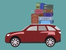 Die Reise mit dem Auto Gepäck auf dem Dach des Autos Stockbilder