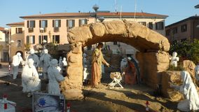 Die religiöse Krippe des katholischen Glaubens in Busto Arsizio, Italien Lizenzfreie Stockbilder