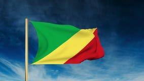 Die Republik Kongo Flaggen-Schieberart Herein wellenartig bewegen stock footage