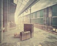 Die Retro- Bahnbahnstation Stockfotos
