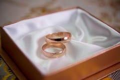 Die Ringe auf den Blumen, in einem Kasten, auf einem weißen Gewebe auf Spielwaren, Farben, Heiratsdetails, Eheringe Stockbild