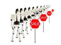 Die Roboter zeigt Verkauf an lizenzfreie stockfotografie