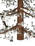 Die Roboterkosten unter einem Währungsbaum vektor abbildung