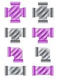 Die Rohre, die Farbpurpurrote und graue Ikone plombieren, stellten in unterschiedliches ein Stockfoto