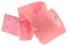 Die Rolle des rosafarbenen Toilettenpapiers stockfoto
