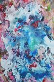 Die rosa blauen weichen Mischungsfarben, malend beschmutzt Hintergrund, bunten abstrakten Hintergrund des Aquarells stockbild