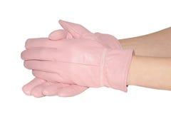 Die rosa Handschuhe der eleganten Frauen auf Weiß Lizenzfreies Stockfoto