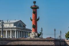 Die Rostral Spalte im St Petersburg Stockbilder