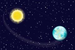 Die Rotation der Erdbahn s um die Sonne Spielen Sie den Planeten die Hauptrolle Vektor Lizenzfreies Stockbild