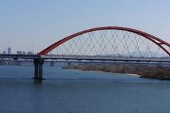 Die rote Brücke Stockbild