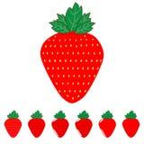 Die rote Erdbeere und die Erdbeeren lizenzfreie abbildung