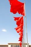 Die rote Fahne auf dem Quadrat stockfotografie