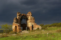 Die rote Kirche Stockfotografie