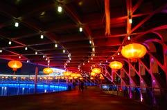 Die rote Laternennachtlandschaft Stockbilder