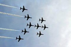 Die roten Pfeile RAF-Luftwaffenstrahlenflugzeuge Lizenzfreies Stockfoto
