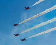 Die roten Pfeile zeigen Team Weston Air Festival-Weston-s-Stute Somerset an Stockfotografie