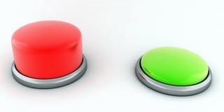Die roten und grünen Tasten Stockbilder