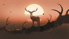 Die Rotwild auf einem Baum bei Sonnenuntergang Lizenzfreie Stockbilder